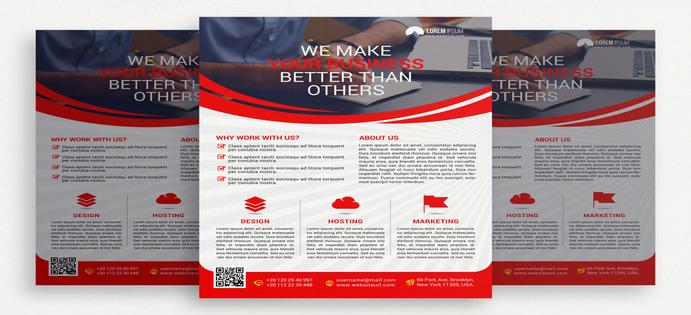 دانلود رایگان طرح لایه باز بروشور سفید و قرمز PSD